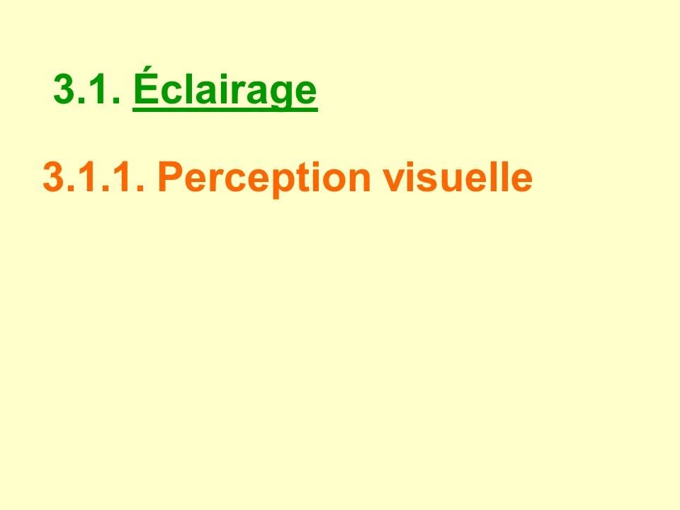 3.1. Éclairage 3.1.1. Perception visuelle