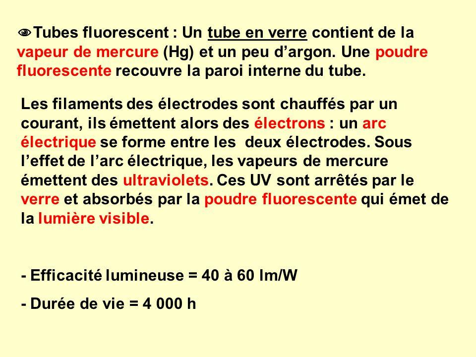 Tubes fluorescent : Un tube en verre contient de la vapeur de mercure (Hg) et un peu dargon. Une poudre fluorescente recouvre la paroi interne du tube