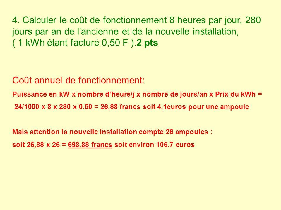 4. Calculer le coût de fonctionnement 8 heures par jour, 280 jours par an de l'ancienne et de la nouvelle installation, ( 1 kWh étant facturé 0,50 F )