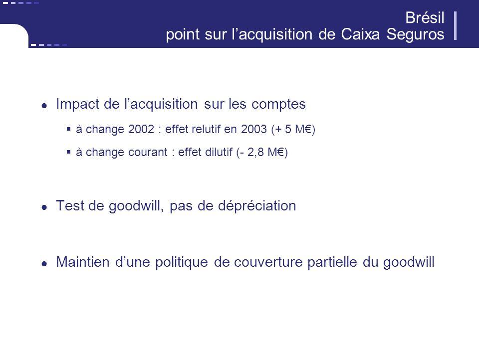 Impact de lacquisition sur les comptes à change 2002 : effet relutif en 2003 (+ 5 M) à change courant : effet dilutif (- 2,8 M) Test de goodwill, pas de dépréciation Maintien dune politique de couverture partielle du goodwill