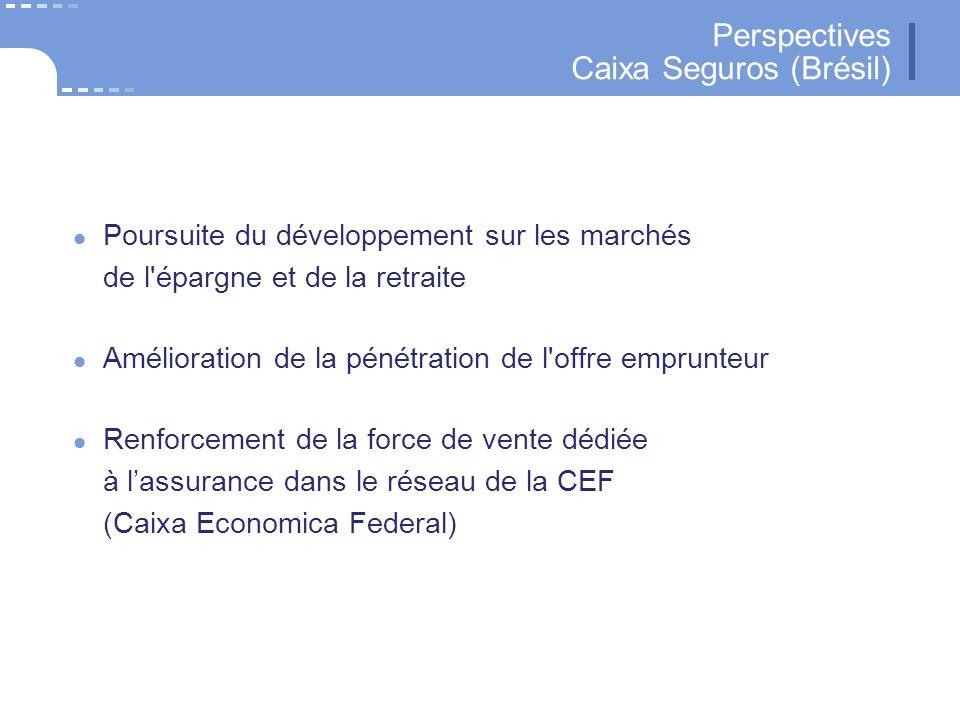 35 CNP Assurances Perspectives Caixa Seguros (Brésil) Poursuite du développement sur les marchés de l épargne et de la retraite Amélioration de la pénétration de l offre emprunteur Renforcement de la force de vente dédiée à lassurance dans le réseau de la CEF (Caixa Economica Federal)