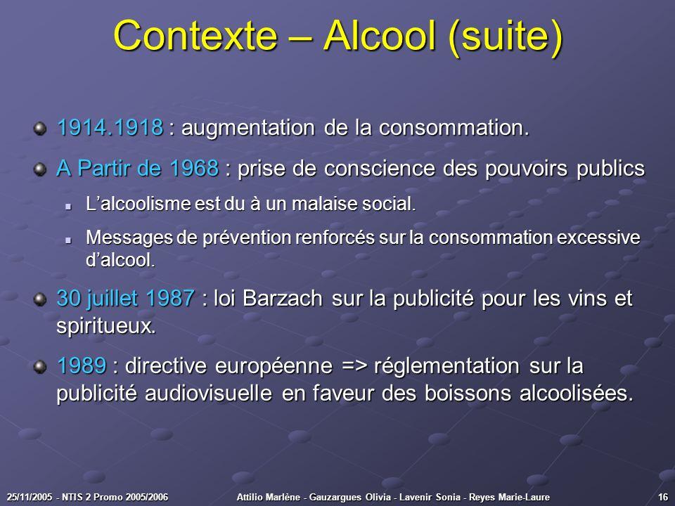 1625/11/2005 - NTIS 2 Promo 2005/2006Attilio Marlène - Gauzargues Olivia - Lavenir Sonia - Reyes Marie-Laure Contexte – Alcool (suite) 1914.1918 : aug