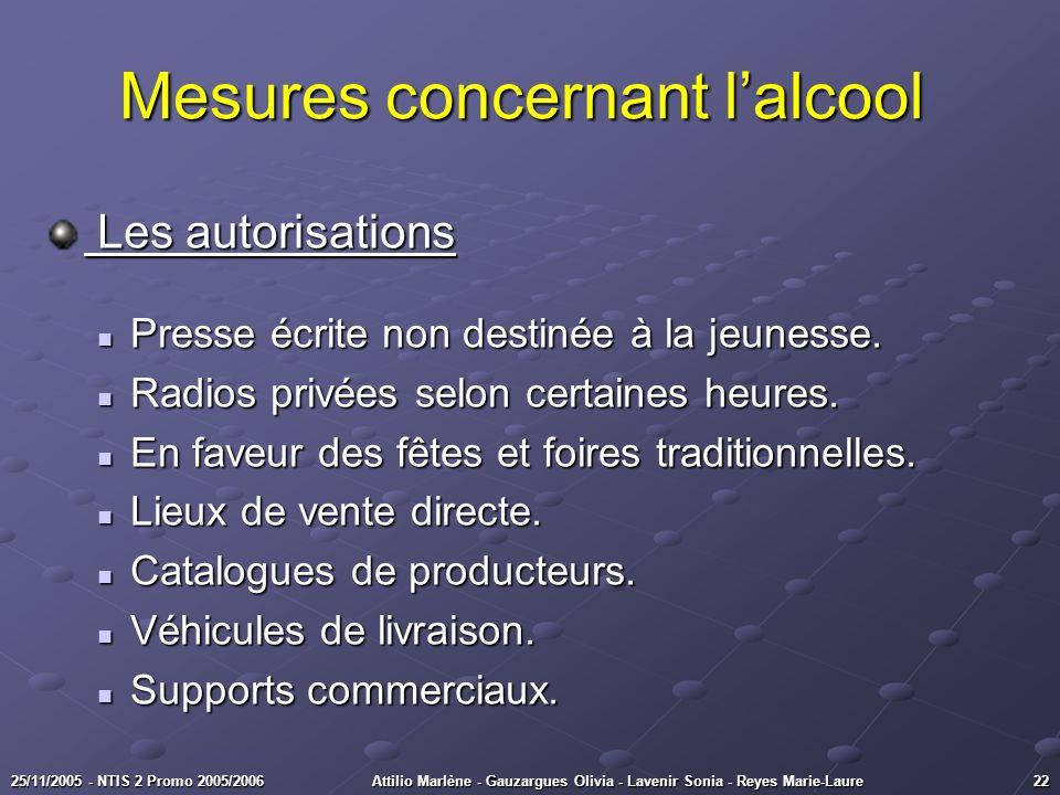 2225/11/2005 - NTIS 2 Promo 2005/2006Attilio Marlène - Gauzargues Olivia - Lavenir Sonia - Reyes Marie-Laure Mesures concernant lalcool Mesures concer