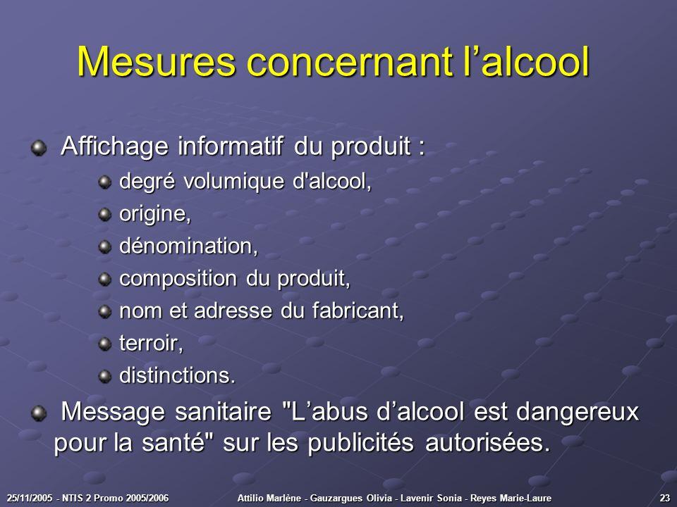 2325/11/2005 - NTIS 2 Promo 2005/2006Attilio Marlène - Gauzargues Olivia - Lavenir Sonia - Reyes Marie-Laure Mesures concernant lalcool Mesures concer
