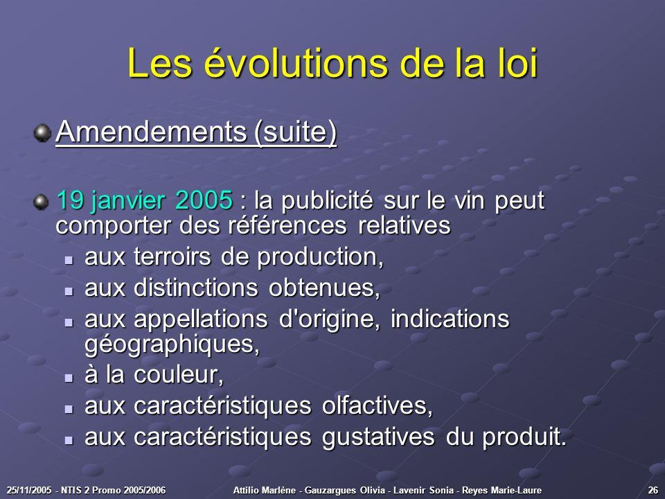 2625/11/2005 - NTIS 2 Promo 2005/2006Attilio Marlène - Gauzargues Olivia - Lavenir Sonia - Reyes Marie-Laure Les évolutions de la loi Amendements (sui