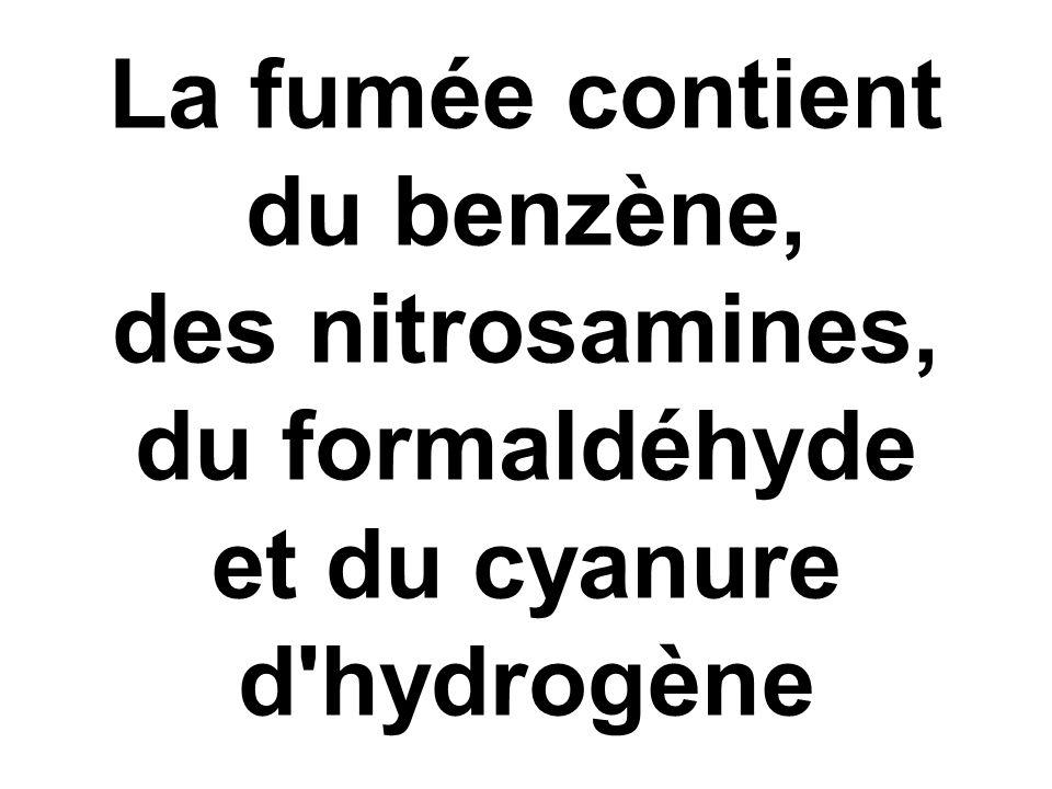 La fumée contient du benzène, des nitrosamines, du formaldéhyde et du cyanure d'hydrogène