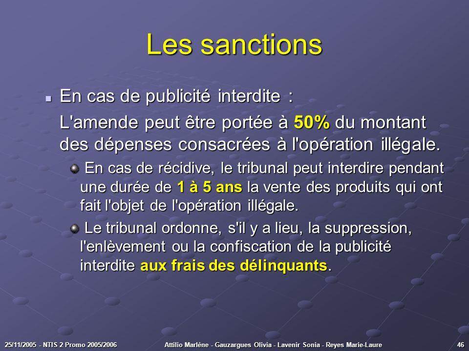 4625/11/2005 - NTIS 2 Promo 2005/2006Attilio Marlène - Gauzargues Olivia - Lavenir Sonia - Reyes Marie-Laure Les sanctions En cas de publicité interdi