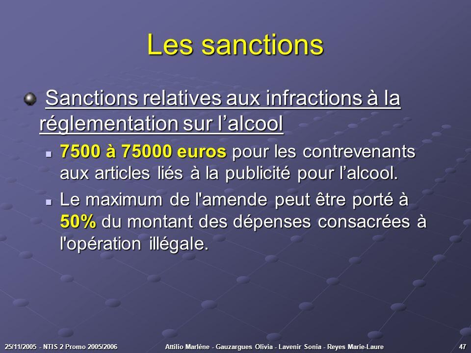 4725/11/2005 - NTIS 2 Promo 2005/2006Attilio Marlène - Gauzargues Olivia - Lavenir Sonia - Reyes Marie-Laure Les sanctions Sanctions relatives aux inf