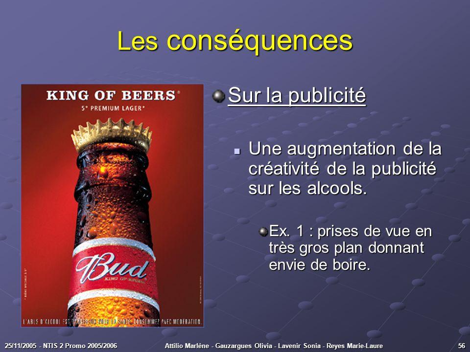 5625/11/2005 - NTIS 2 Promo 2005/2006Attilio Marlène - Gauzargues Olivia - Lavenir Sonia - Reyes Marie-Laure Les conséquences Sur la publicité Une aug