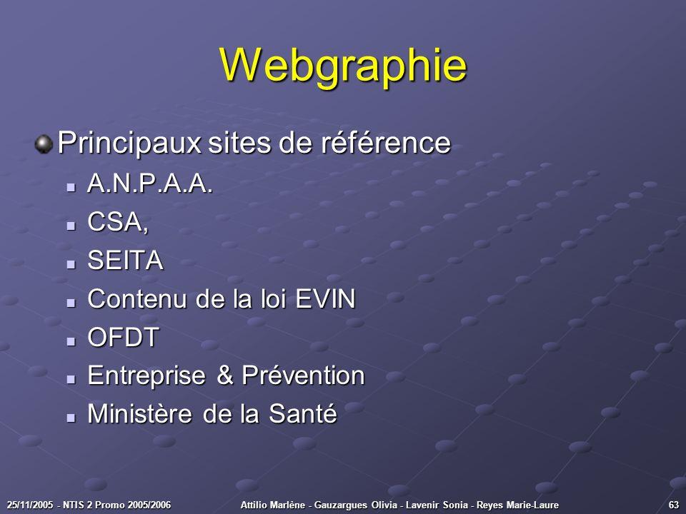 6325/11/2005 - NTIS 2 Promo 2005/2006Attilio Marlène - Gauzargues Olivia - Lavenir Sonia - Reyes Marie-Laure Principaux sites de référence A.N.P.A.A.