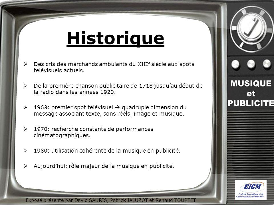Historique Des cris des marchands ambulants du XIII e siècle aux spots télévisuels actuels. De la première chanson publicitaire de 1718 jusquau début