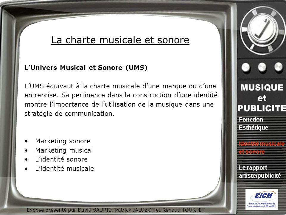 Exposé présenté par David SAURIS, Patrick JALUZOT et Renaud TOURTET La charte musicale et sonore LUnivers Musical et Sonore (UMS) LUMS équivaut à la c