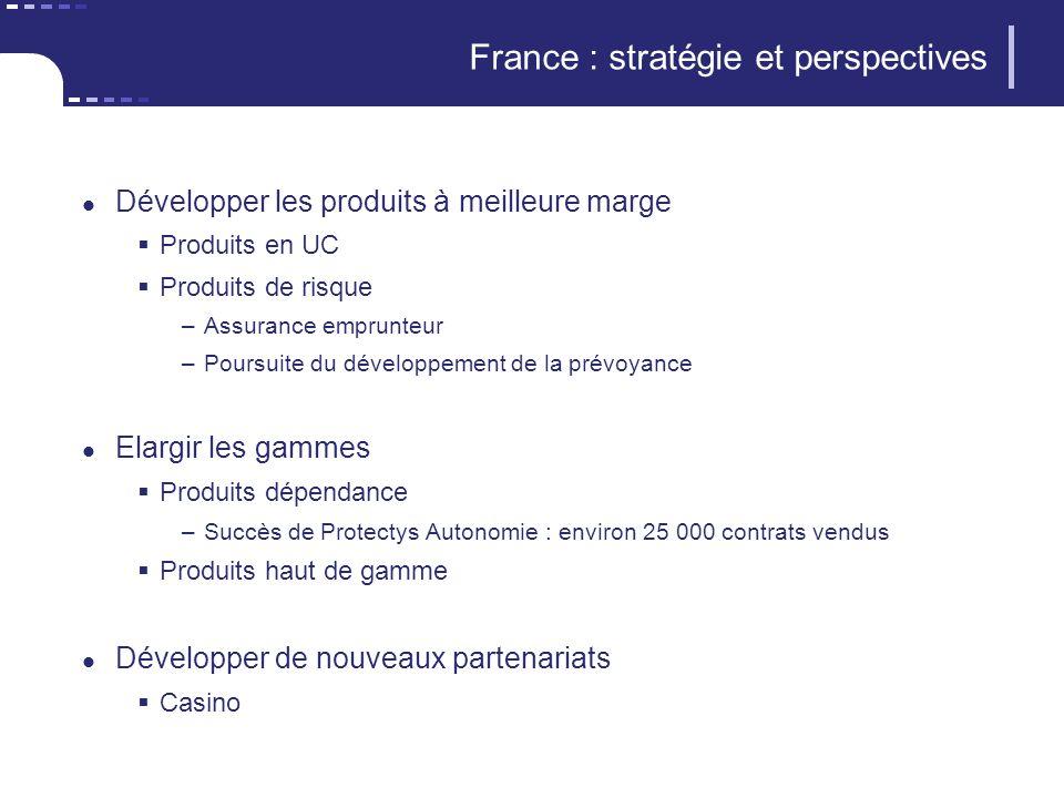 France : stratégie et perspectives Développer les produits à meilleure marge Produits en UC Produits de risque –Assurance emprunteur –Poursuite du dév