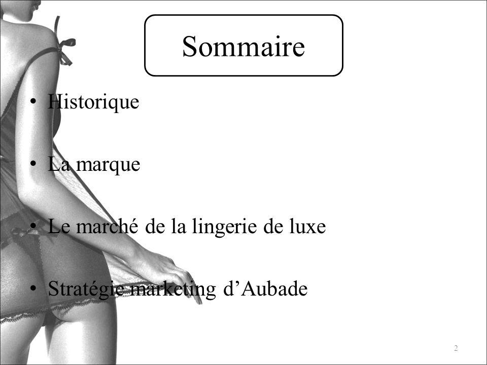 Sommaire Historique La marque Le marché de la lingerie de luxe Stratégie marketing dAubade 2