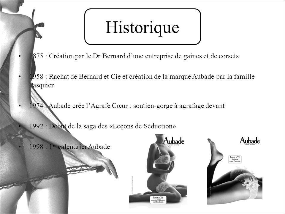 1875 : Création par le Dr Bernard dune entreprise de gaines et de corsets 1958 : Rachat de Bernard et Cie et création de la marque Aubade par la famil