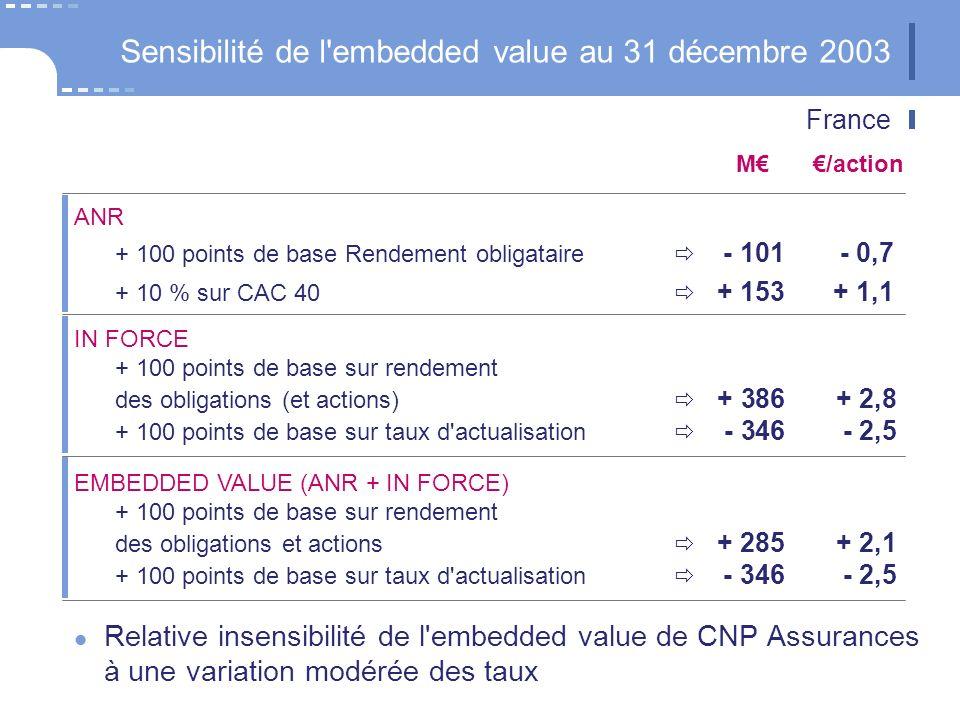 Brésil Sensibilité de l embedded value au 31 décembre 2003 Taux de rendement financier + 100 points de base + 1,8 Taux d actualisation + 100 points de base - 2,2 Marge de solvabilité normes UE - 5,2 M