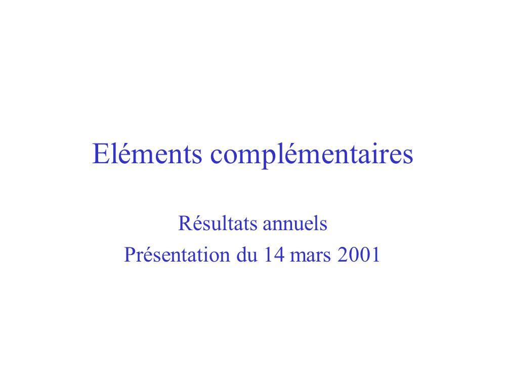 Eléments complémentaires Résultats annuels Présentation du 14 mars 2001