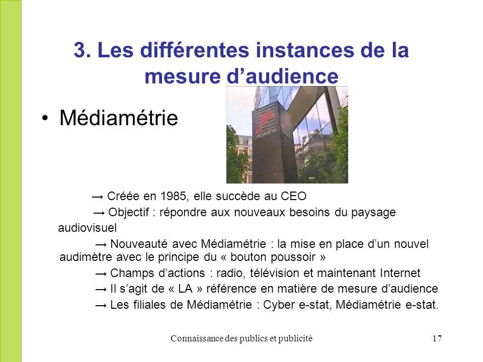 Connaissance des publics et publicité17 3. Les différentes instances de la mesure daudience Médiamétrie Créée en 1985, elle succède au CEO Objectif :