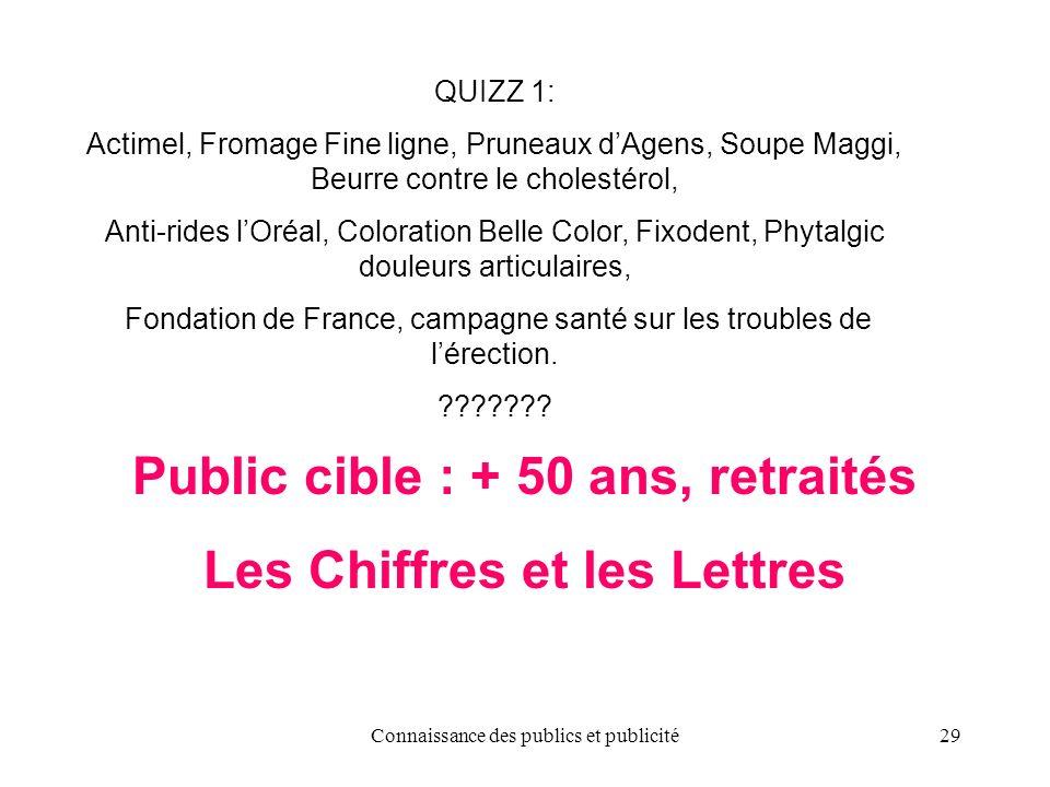 Connaissance des publics et publicité29 Public cible : + 50 ans, retraités Les Chiffres et les Lettres QUIZZ 1: Actimel, Fromage Fine ligne, Pruneaux