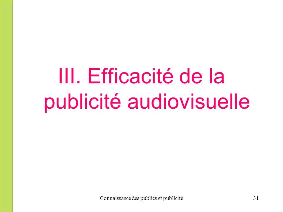 Connaissance des publics et publicité31 III. Efficacité de la publicité audiovisuelle