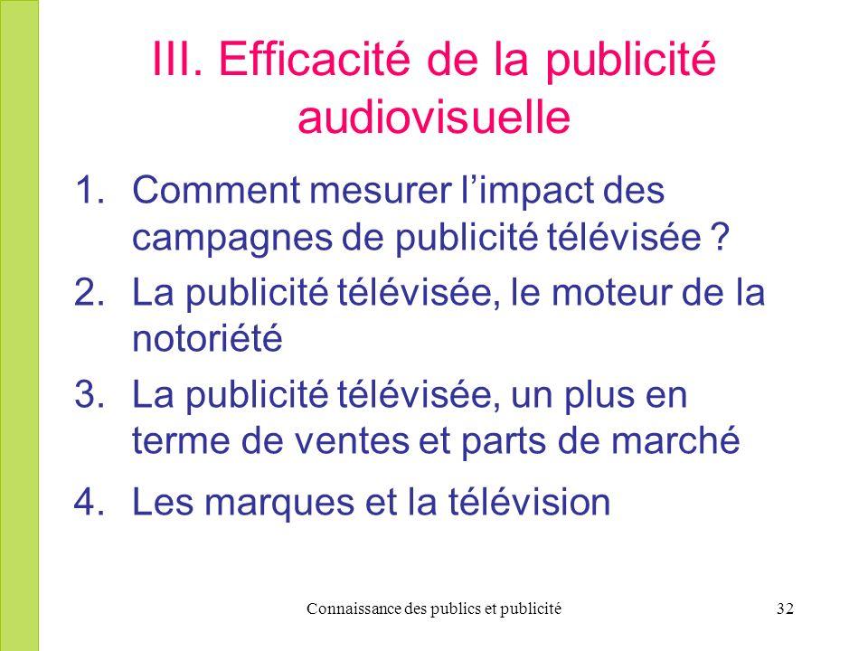 Connaissance des publics et publicité32 III. Efficacité de la publicité audiovisuelle 1.Comment mesurer limpact des campagnes de publicité télévisée ?