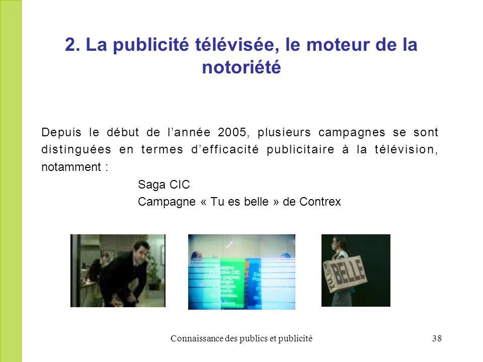 Connaissance des publics et publicité38 2. La publicité télévisée, le moteur de la notoriété Depuis le début de lannée 2005, plusieurs campagnes se so