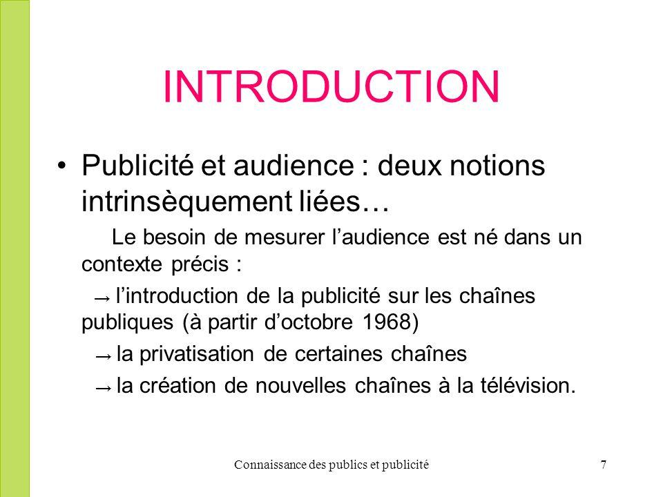 Connaissance des publics et publicité7 INTRODUCTION Publicité et audience : deux notions intrinsèquement liées… Le besoin de mesurer laudience est né