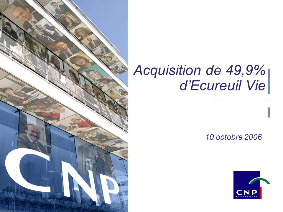 1 10 octobre 2006 Acquisition de 49,9% dEcureuil Vie