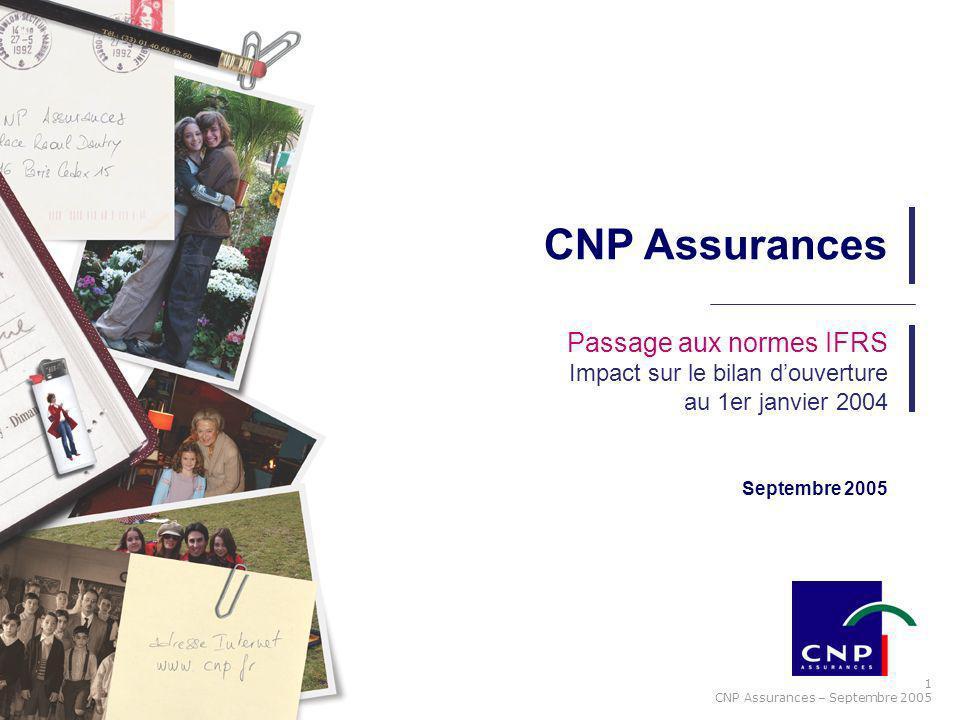 1 CNP Assurances – Septembre 2005 Septembre 2005 Passage aux normes IFRS Impact sur le bilan douverture au 1er janvier 2004 CNP Assurances