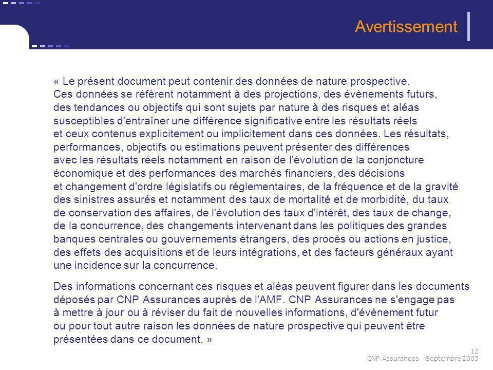 12 CNP Assurances – Septembre 2005 Avertissement « Le présent document peut contenir des données de nature prospective. Ces données se réfèrent notamm