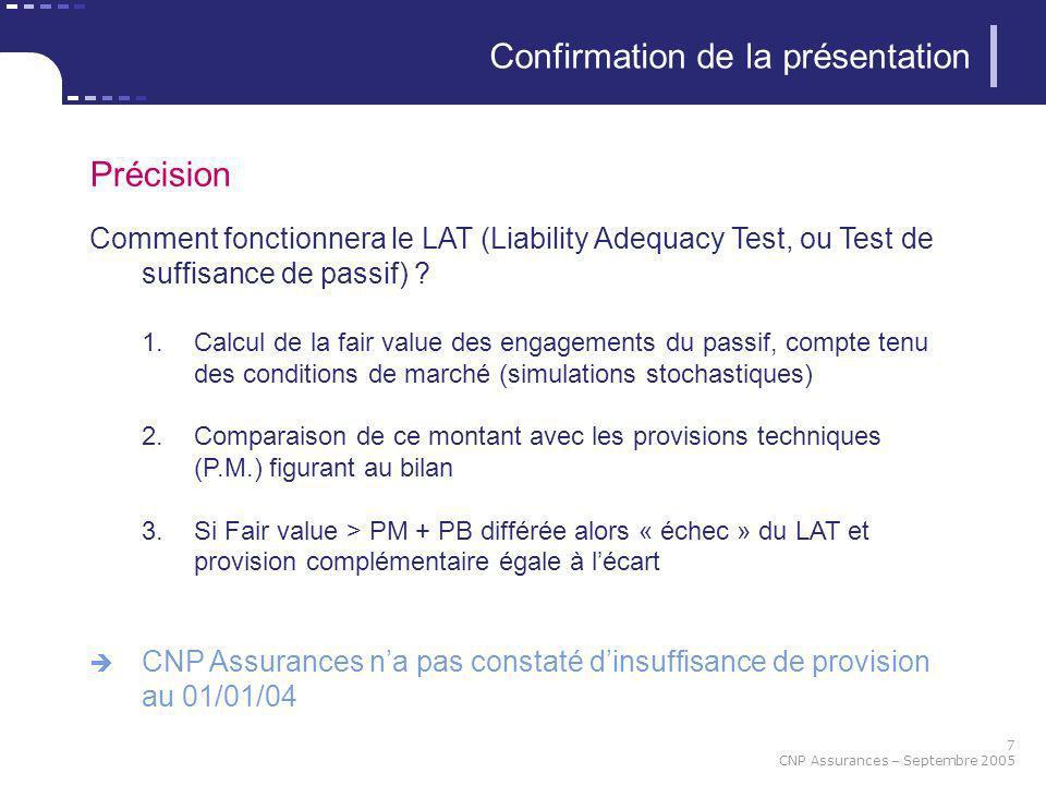 7 CNP Assurances – Septembre 2005 Confirmation de la présentation Précision Comment fonctionnera le LAT (Liability Adequacy Test, ou Test de suffisanc