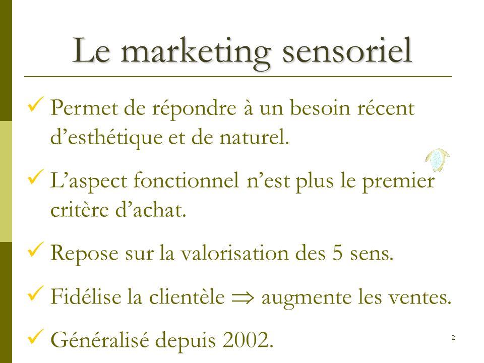 2 Le marketing sensoriel Permet de répondre à un besoin récent desthétique et de naturel.