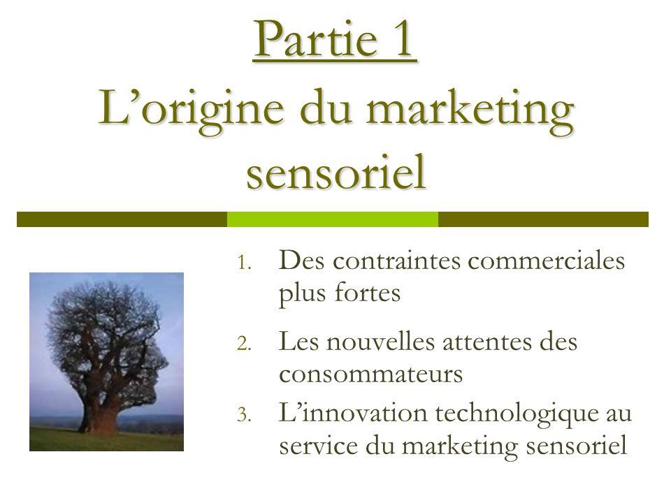 Lorigine du marketing sensoriel 1.Des contraintes commerciales plus fortes 2.