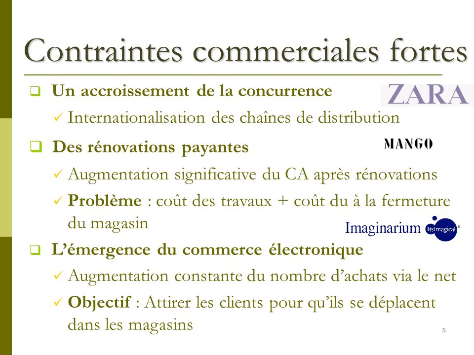 5 Contraintes commerciales fortes Un accroissement de la concurrence Internationalisation des chaînes de distribution Des rénovations payantes Augment