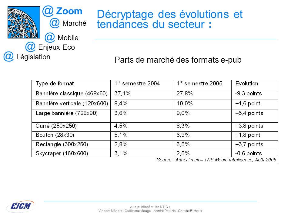 « La publicité et les NTIC » Vincent Ménard - Guillaume Mougel - Annick Patrizio - Christel Richeux Décryptage des évolutions et tendances du secteur