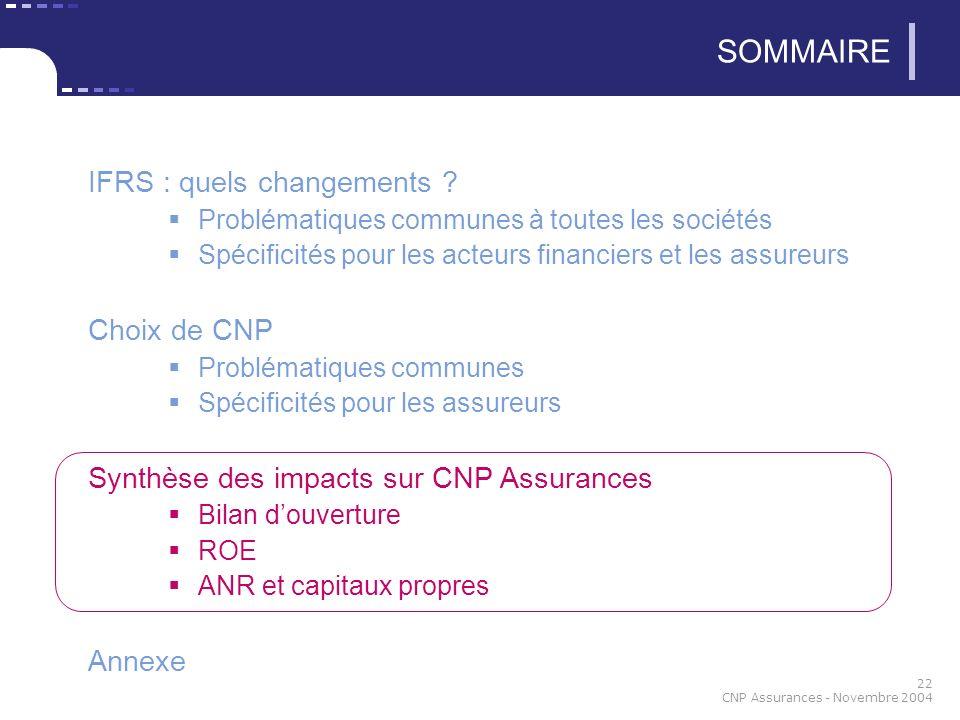 22 CNP Assurances - Novembre 2004 SOMMAIRE IFRS : quels changements .