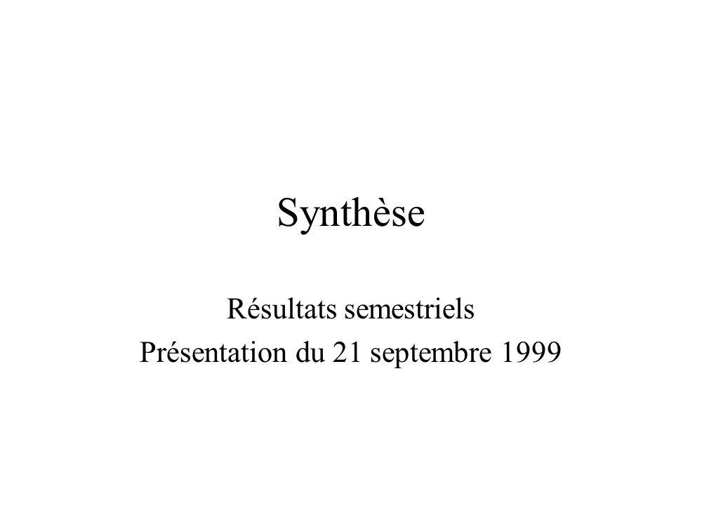 Synthèse Résultats semestriels Présentation du 21 septembre 1999