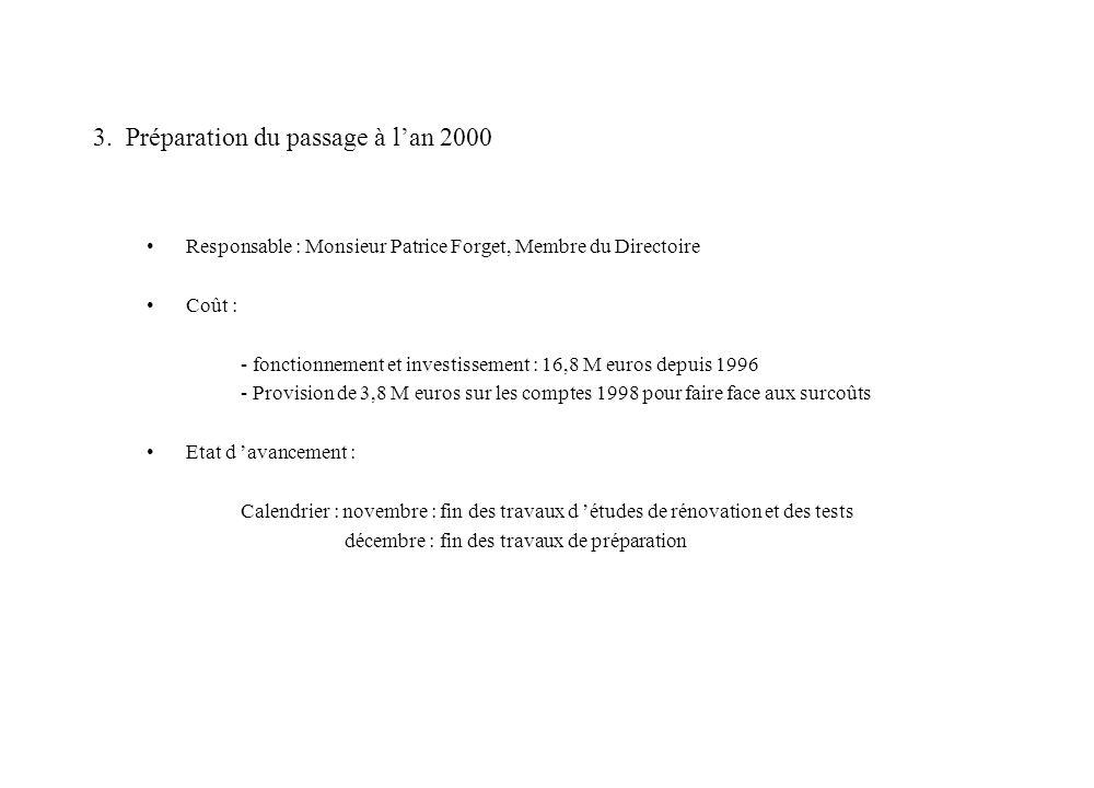 3. Préparation du passage à lan 2000 Responsable : Monsieur Patrice Forget, Membre du Directoire Coût : - fonctionnement et investissement : 16,8 M eu