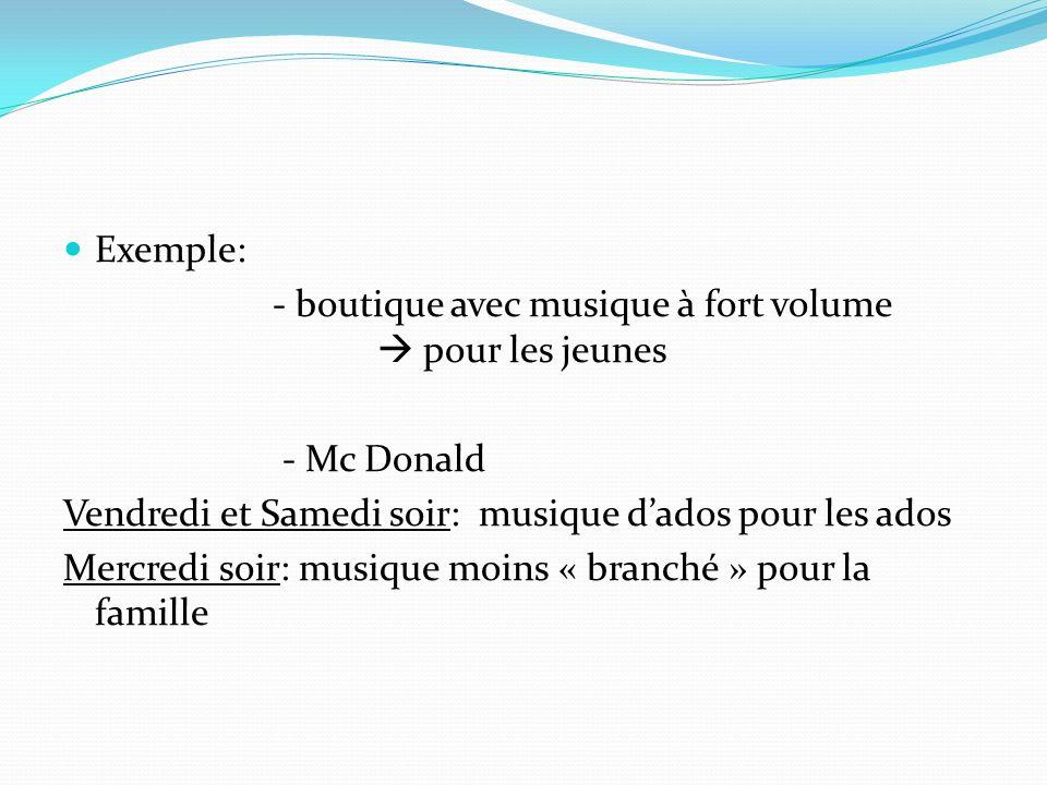 Exemple: - boutique avec musique à fort volume pour les jeunes - Mc Donald Vendredi et Samedi soir: musique dados pour les ados Mercredi soir: musique