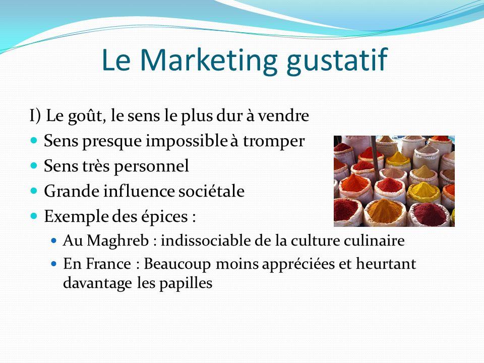 Le Marketing gustatif I) Le goût, le sens le plus dur à vendre Sens presque impossible à tromper Sens très personnel Grande influence sociétale Exempl