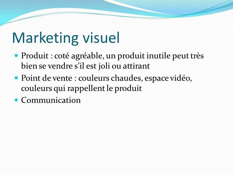 Marketing visuel Produit : coté agréable, un produit inutile peut très bien se vendre sil est joli ou attirant Point de vente : couleurs chaudes, espa