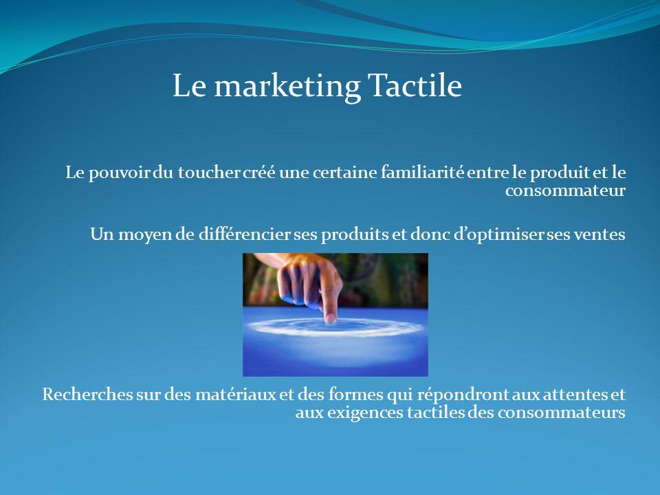Le marketing Tactile Le pouvoir du toucher créé une certaine familiarité entre le produit et le consommateur Un moyen de différencier ses produits et