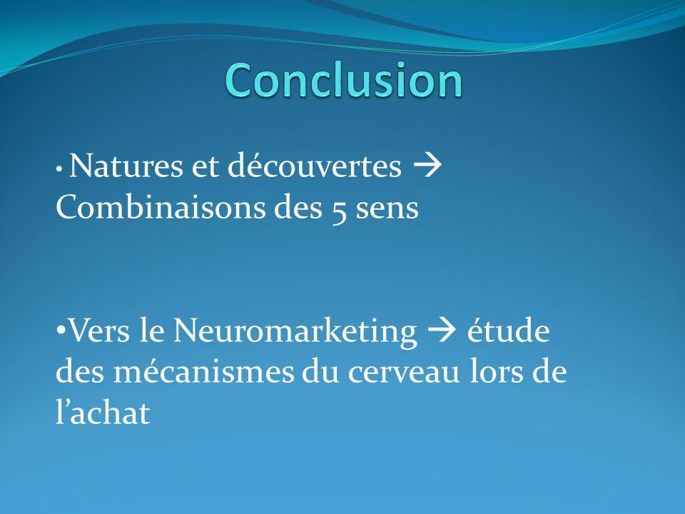 Natures et découvertes Combinaisons des 5 sens Vers le Neuromarketing étude des mécanismes du cerveau lors de lachat