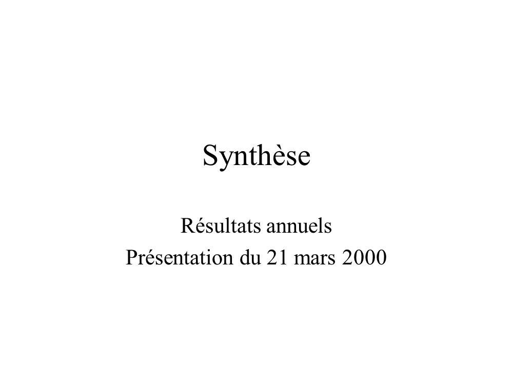 Synthèse Résultats annuels Présentation du 21 mars 2000