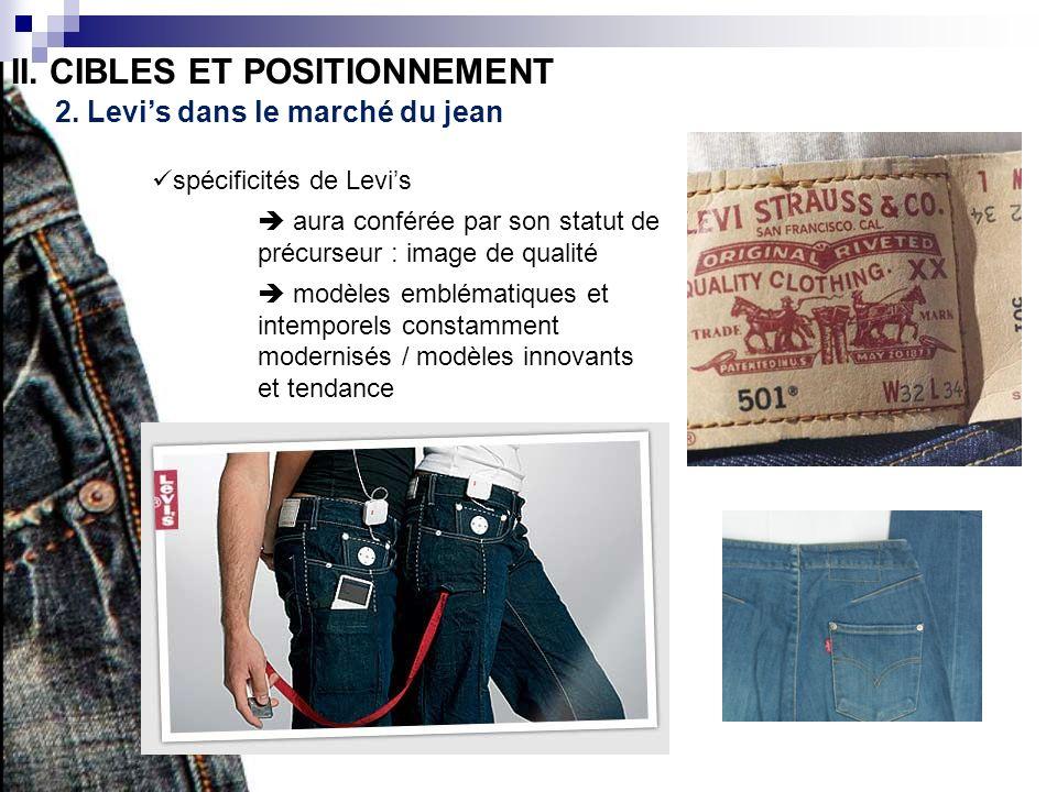 II. CIBLES ET POSITIONNEMENT 2. Levis dans le marché du jean spécificités de Levis aura conférée par son statut de précurseur : image de qualité modèl