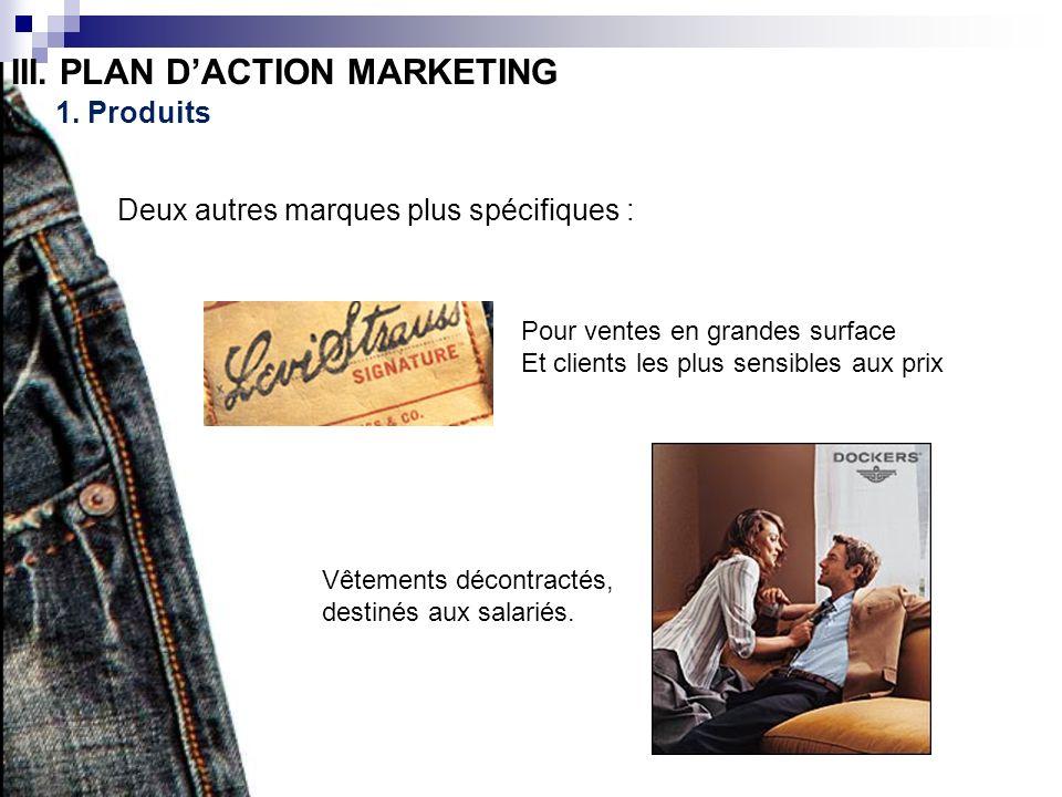 III. PLAN DACTION MARKETING 1. Produits Deux autres marques plus spécifiques : Pour ventes en grandes surface Et clients les plus sensibles aux prix V