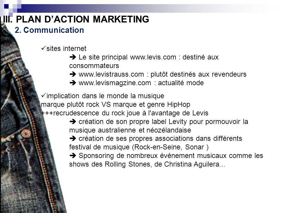 III. PLAN DACTION MARKETING 2. Communication sites internet Le site principal www.levis.com : destiné aux consommateurs www.levistrauss.com : plutôt d