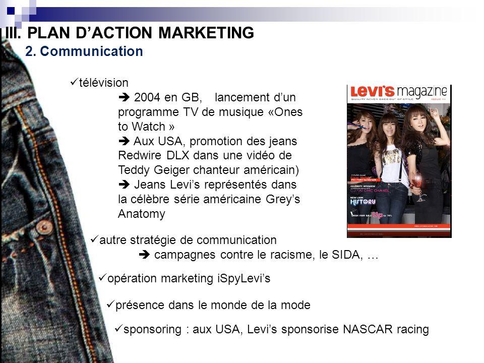 III. PLAN DACTION MARKETING 2. Communication télévision 2004 en GB, lancement dun programme TV de musique «Ones to Watch » Aux USA, promotion des jean