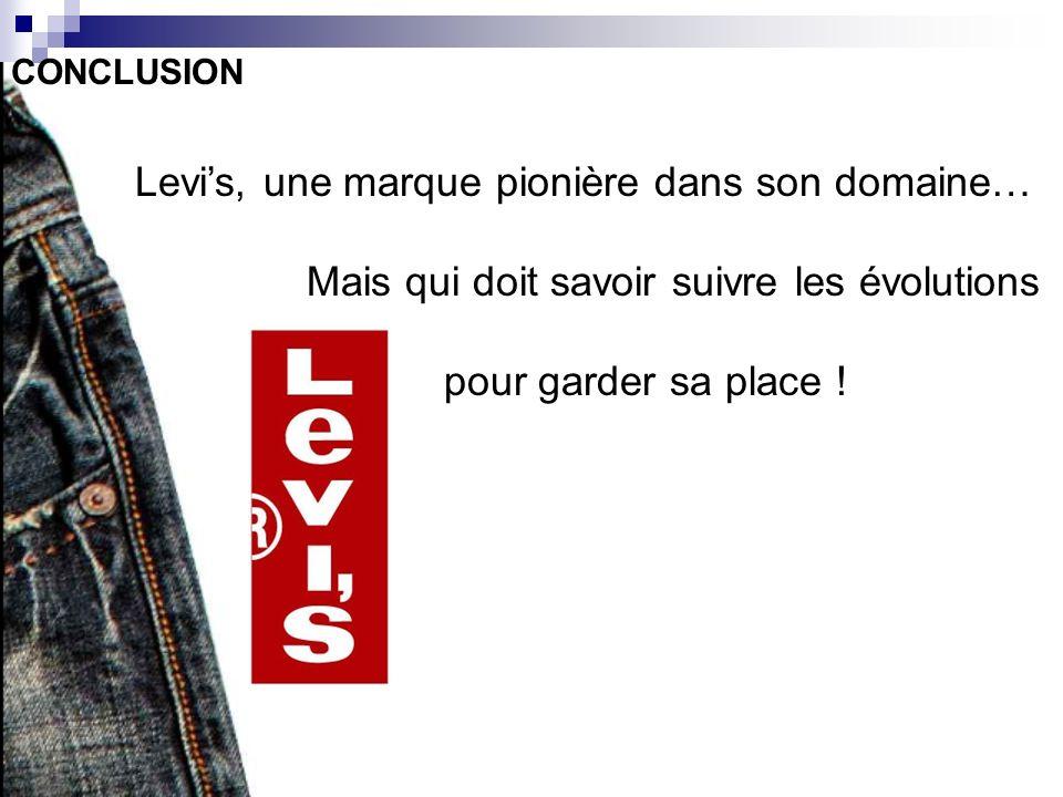 CONCLUSION Levis, une marque pionière dans son domaine… Mais qui doit savoir suivre les évolutions pour garder sa place !