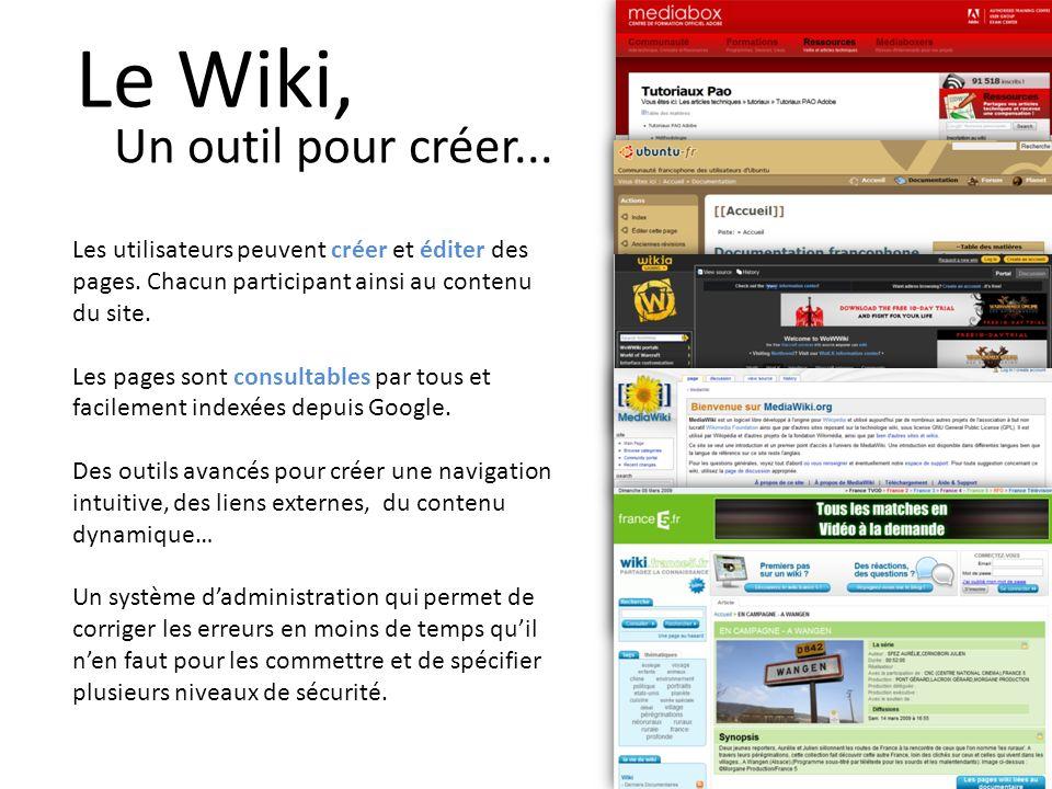 Le Wiki, Un outil pour créer... Les utilisateurs peuvent créer et éditer des pages.